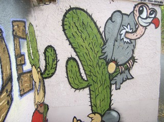 Graffiti #10 - Graffiti, Mauerbilder, Graffito, Bild, Kunstform, Wandmalerei, Kaktus, Geier