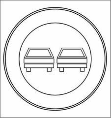 Überholverbotschild #1 - Überholverbotschild, Anlaut UE, Schild, Verkehrsschild, Hinweisschild, Verbotsschild, Kreis, Kreisring