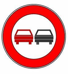 Überholverbotschild #2 - Überholverbotschild, Anlaut UE, Schild, Verkehrsschild, Hinweisschild, Verbotsschild, Kreis, Kreisring