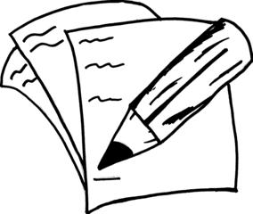 Stift auf Papier - Stift, Papier, Symbol, Symbolkarte, Icon, Bleistift, schreiben