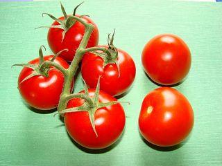 Tomaten - Tomate, Paradeiser, Nachtschattengewächs, Frucht, Gemüse, rot, Salat, Anlaut T, sechs, Rispentomaten