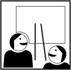 Piktogramm Kooperatives Lernen - Präsentation #1 - Präsentation, Ergebnis, präsentieren, Gruppe, Gruppenergebnis, Ergebnis, Ergenissicherung, Vortrag, zwei, zeigen, vorstellen