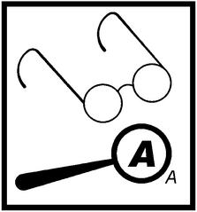 Piktogramm Lesen - Lesen, durchlesen, lernen, visuell, Brille, Lupe