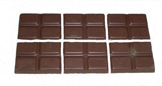 Bruchrechnung mit Schokolade #12 - Schokolade, Tafel, braun, süß, naschen, Stücke, Naschwerk, lecker, Bruch, Bruchrechnen, Teil, Teile, teilen, aufteilen, Brüche, Bruchteile, Bruchrechnung, Sechstel, sechs.