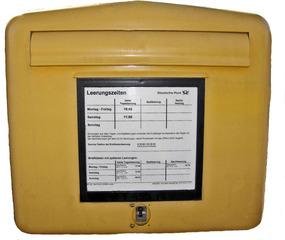 Briefkasten - Briefkasten, Postkasten, Post, Brief, Briefe, schreiben, gelb, Leerung, leeren, Standort, Leerungszeiten, Absender, Kommunikation, Deutsche Post