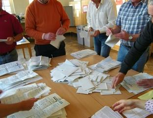 Wahlen- Stimmzettel sortieren - Wahl, Bundestagswahl, wählen, Stimmzettel, Politik, Demokratie, geheim, öffentliche Auszählung, Bundestag, Landtag