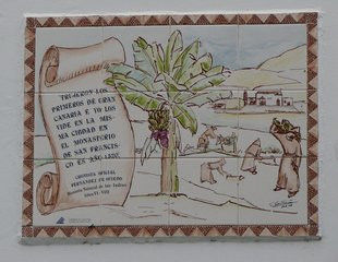 Trujeron Los Primeros de Gran Canaria - Kachelinschrift - Inschrift, Kachel, Spanisch, Gran Canaria