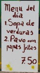 Speisekarte auf Tafel in spanischer Sprache - spanisch, Menu, Speisekarte