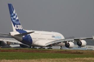 Flugzeug  - reisen, Verkehr, Flugzeug, Airbus, A380, Tragfläche, Leitwerke, Turbine, Spannweite, groß