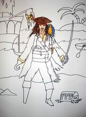 Pirat Jack Sparrow - Pirat, Seeräuber, Fluch der Karibik, Strand, Meer