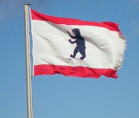 Flagge Berlin - Flagge, Berlin, Berliner Bär, Wappentier, Wind, Sturm, Fahne