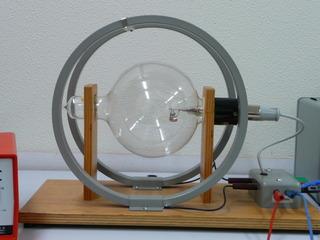 Fadenstrahlrohr - Kräfte im Magnetfeld, Fadenstrahlrohr, Masse des Elektrons, spezifische Ladung, Helmholzspule, Elektronenstrahl, Ablenkung, Kreis, Lorentzkraft, Zentripetalkraft
