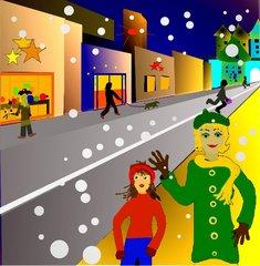 Adventbummel in der Stadt - beleuchtete Auslagen, Weihnachtseinkauf, Weihnachtsbummel, Schnee, Geschäfte, Schreibanlass