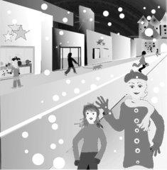 Adventbummel in der Stadt zum Ausmalen - beleuchtete Auslagen, Weihnachtseinkauf, Weihnachtsbummel, Schnee, Geschäfte, Schreibanlass