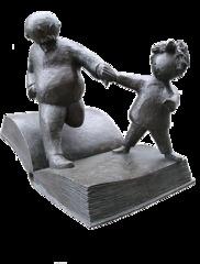 Vater und Sohn - Vater, Sohn, e.o.plauen, Plauen, Bildergeschichte, Skulptur, Bronze