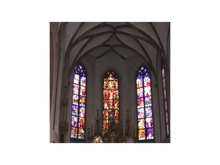 Kirchenfenster - Fenster, Kirchenfenster, Bleiverglasung, Gotik, Spitzbogen, Apsis