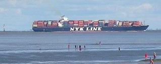 Containerschiff - Schiff, Container, Containerschiff, Transportwesen, Nordsee, Elbe, Cuxhaven