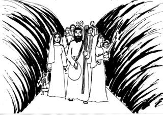 Durchzug durchs Meer - Mose, Israeliten, Durchzug, Schilfmeerwunder