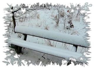 Bank im Schnee, Sylvester 2009 - Schnee, Winter, Bank, Ruhe, Spaziergang, Grußkarte, Gruß, Effektbild