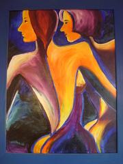 Freundinnen, Ölbild - Frauen, gemeinsam, gehen, Weg, Gemeinschaft, Freundinnen, Rücksicht, Ölfarben, Komplementärfarben, blau, orange