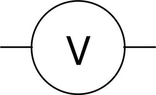 Voltmeter - groß - Voltmeter, Spannungsmessgerät, Spannung, Schaltsymbol