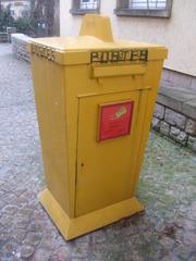 Briefkasten #1 - Brief, Briefbeförderung, Post, Postwesen, Briefkasten, Transport, Europa, Luxemburg, Körper, Quader, Volumen, Oberfläche