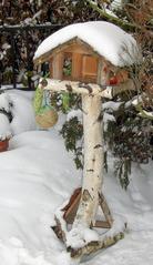Vogelhäuschen im Winter - Vogelhäuschen, Vogelhaus, Winter, Fütterung, füttern, Vogel, Futter, Schnee
