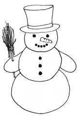 Schneemann mit Zylinderhut - Winter, Schnee, Schneemann, kalt, Illustration, Anlaut Sch