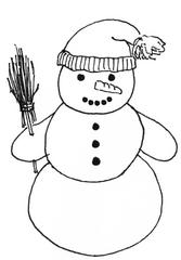Schneemann mit Mütze 2 - Winter, Schnee, Schneemann, kalt, Illustration, Anlaut Sch