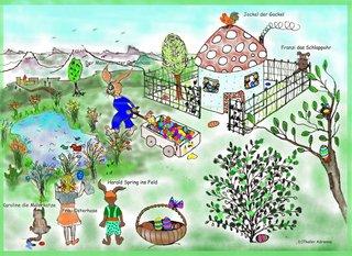 Die Osterhasenfamilie   - Suchbild, Ostern, Garten, Osterhasen, Ostereier