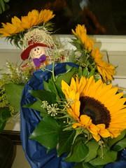 Herbstbild - Herbst, Herbstdekoration, Sonnenblume, Vogelscheuche