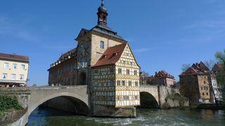 Rathaus in Bamberg - Franken, Bamberg, Rathaus, Bayern, Deutschland, Architektur, Fachwerk, Barock, Bogenbrücke
