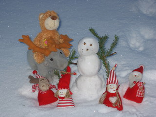 Winter Frohe Weihnachten - Jahreszeit, Winter, Weihnachten, Schnee, Schneemann, feiern, Fest, Wichtel, Elch, Deko, Weihnachtsdeko