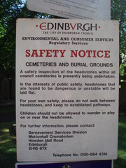 Edinburgh Safety Notice - Edinburgh, Cemetery, Friedhof, Sicherheit