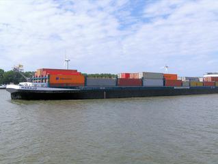Containerschiff #1 - Container, Schiff, Transport, Güter, Wasser, Wasserweg, Schleuse