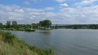 Zusammenfluss Main und Rhein - Main, Rhein, Mainspitzdreieck