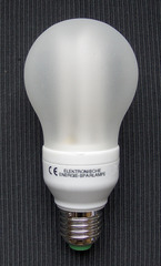 Energiesparlampe #1 - Energiesparlampe, Birne, Leuchte, Strom, Licht, Energie, sparen, Tropfen, Elektrizität, Lichtquelle, Beleuchtung, Schraubsockel, Glaskolben, elektrischer Leiter, thermische Strahlung, Wärmeleitung, Stromkreis, Physik, Glas