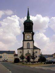 Stadtkirche in Frauenstein - Deutschland, Sachsen, Wahrzeichen, Frauenstein, Kirche, Wolken, Turm