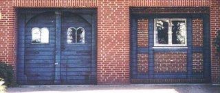 bemalte Garagentore - Garagentor, Backstein, Klinkerstein, bemalt, Illusionsmalerei, Trompe l'oeil, Fenster, Meditation, Tor, Tür
