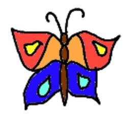 Schmetterling gemalt (bunt) - Schmetterling, Falter, Symmetrie, Anlaut Sch, Illustration