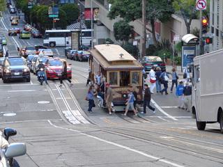 Cable car - USA, San Francisco, Cable car, Schienenfahrzeug, Wahrzeichen, Straßenbahn, Sehenswürdigkeit