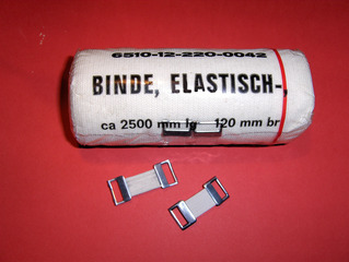 Elastische Binde - Elastische Binde, elastisch, Binde, Verband, Verletzung, Verstauchung, stützen, erste Hilfe, Verschluss, Klemmen, Haken, Gummi, mm