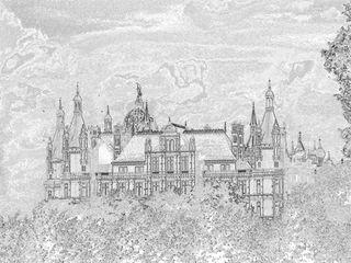Schweriner Schloß - Schloß, Märchen, Umrissgrafik, Grafik, Kunst, Schloss