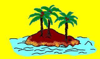Insel - Insel, Illustration, Anlaut I, Palmen, Land, Wasser, Landmasse