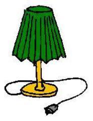 Lampe - Lampe, Tischlampe, Lampenschirm, Kabel, Stecker, Anlaut L, Elektrogerät, Illustration, grün