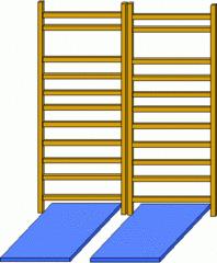 Sprossenwand#4 - Sprossenwand, doppelt, Sport, Sportgerät, klettern, parallel, normal, rechter Winkel
