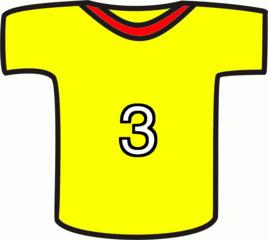 Shirt gelb - Sport, Mannschaft, Shirt, gelb, Nummer, drei, Trikot, Fußball, T-Shirt