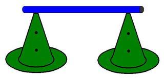 Pylonhürde_hoch#3 - Pylon, Markierungskegel, Hütchen, Kegel, Sport, Sportgerät, Spielabgrenzung, Markierung, markieren, Hürde, hoch, Hindernis