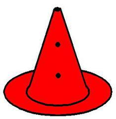 Loch_Pylon_rot - rot, Pylon mit Loch, Markierungskegel, Hütchen