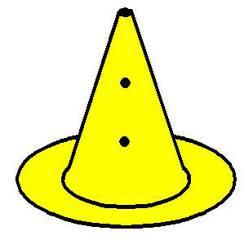 Loch_Pylon_gelb - gelb, Pylon mit Loch, Markierungskegel, Hütchen